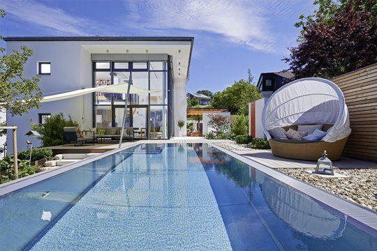 Edelstahl-Pool Swimming-pool Hanglage