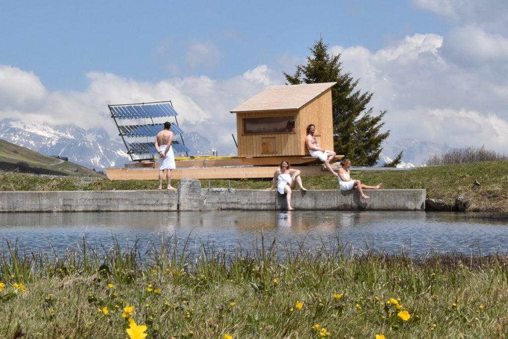 Wellnessen in der Schweiz - Solarsauna auf 2000 Metern Höhe